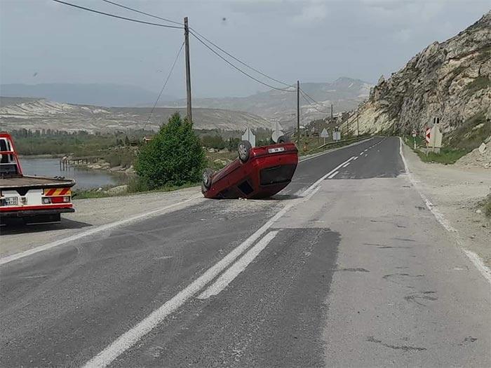 Nallıhan'da araç takla attı!